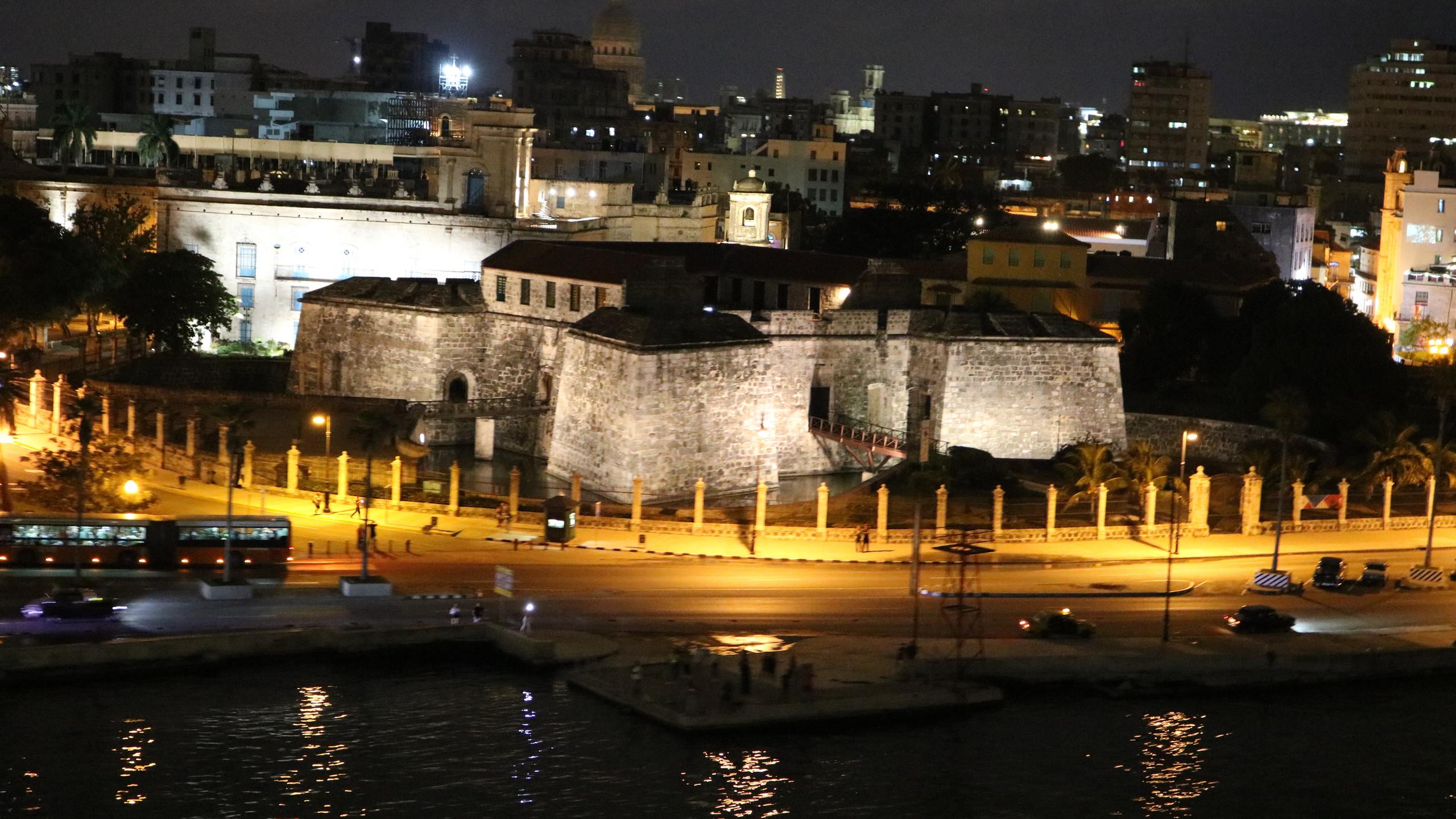 Castillo de la Real Fuerza in Havana lit up at night.