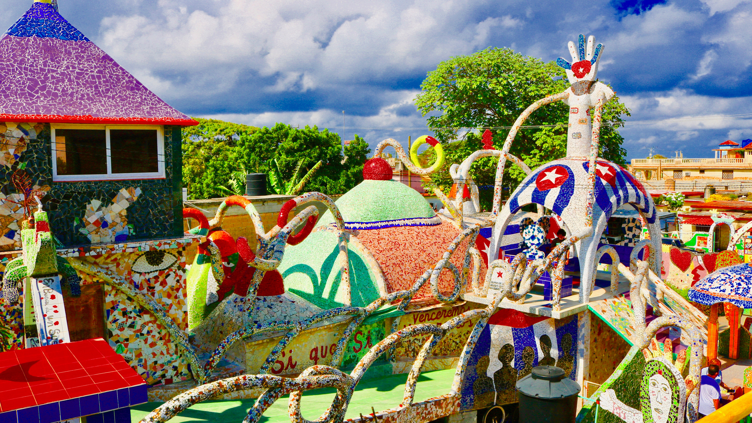 Top of the colorful, mosaic roof of Fusterlandia in Havana, Cuba.