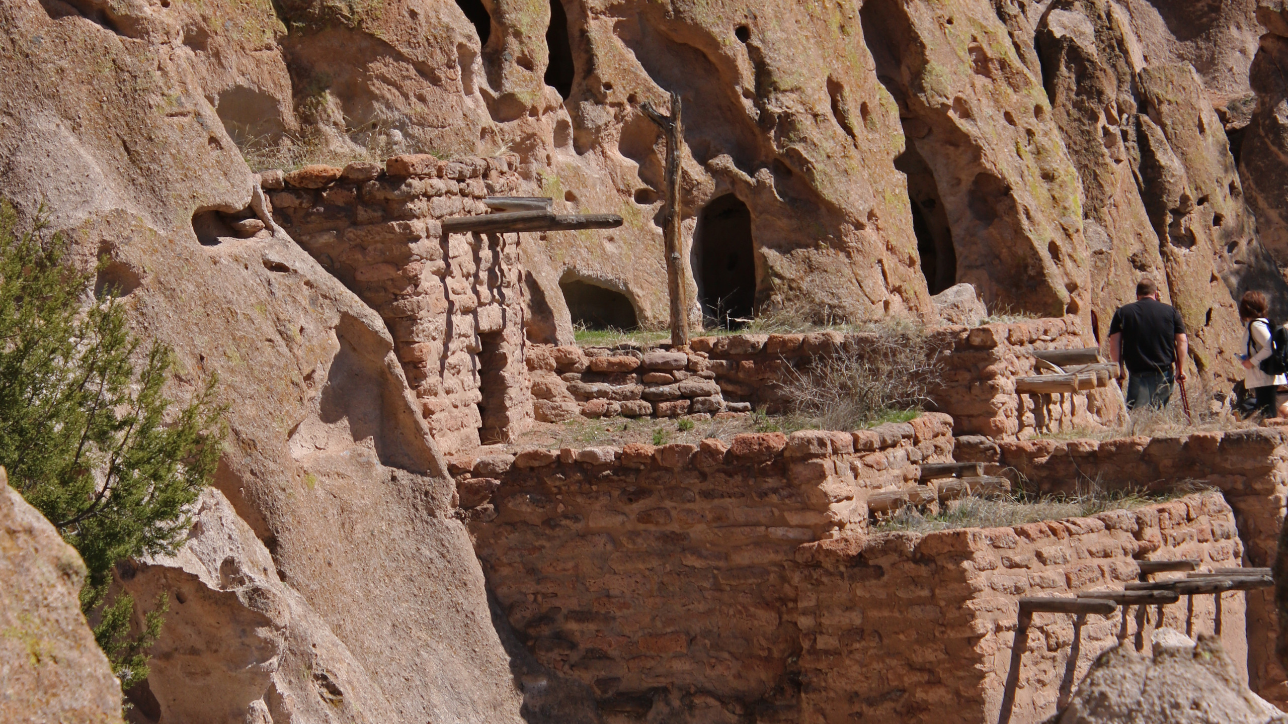 Pueblo home built into canyon at Bandelier National Monument in New Mexico