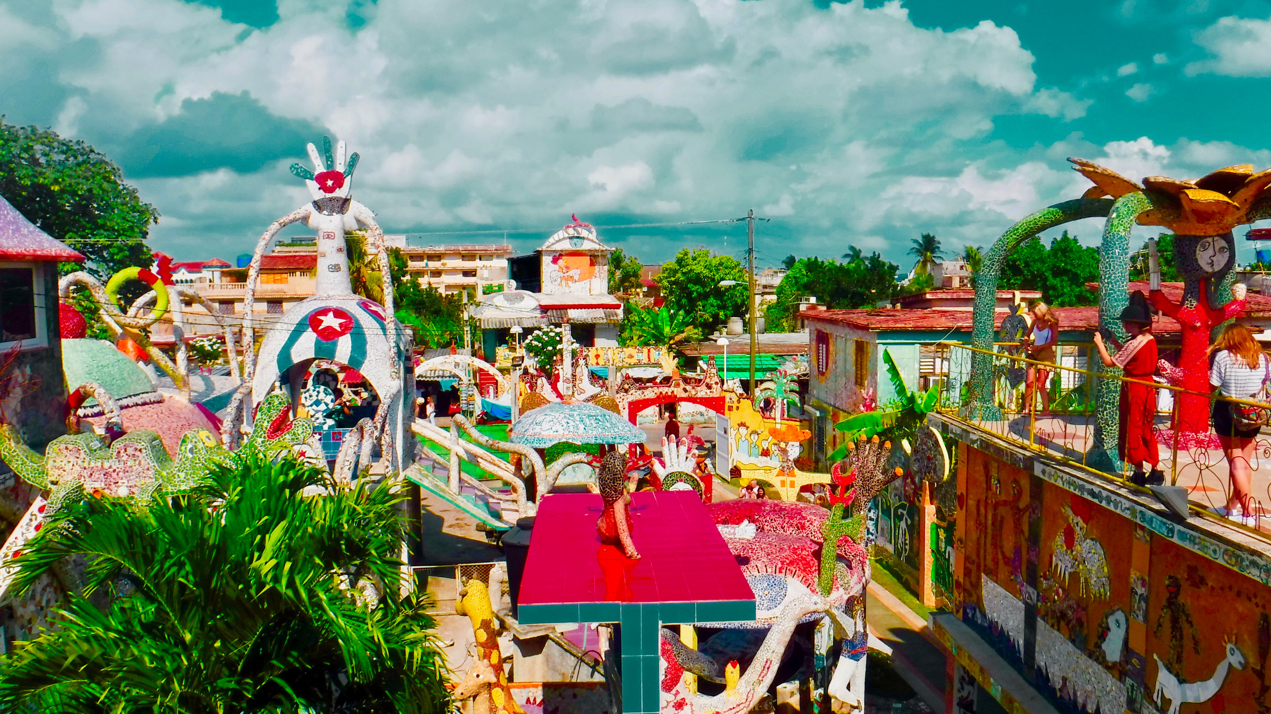 Colorful tiled rooftops at Fusterlandia.