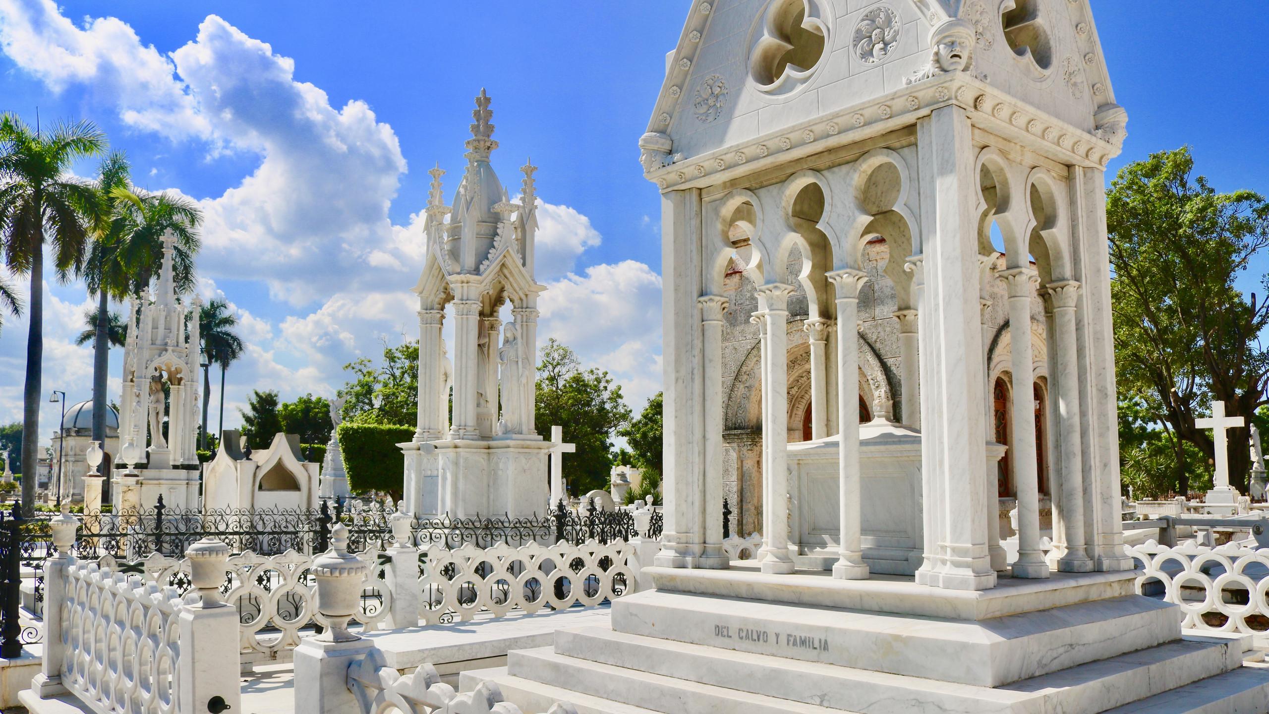 White mausoleums in Havana's Colon Cemetery.