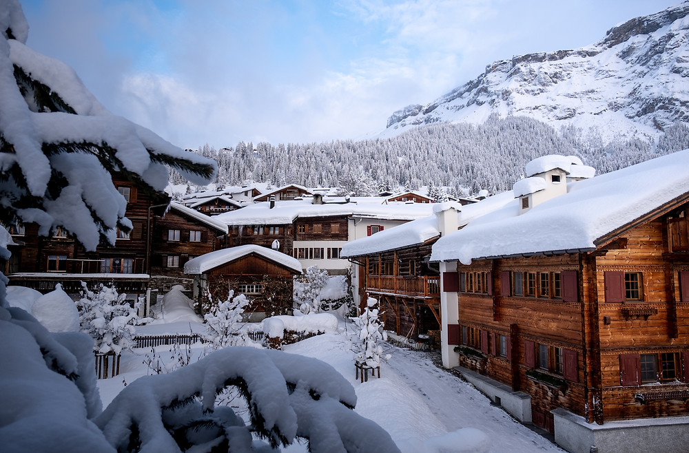 Snow-covered ski resort being used for a splurge trip.