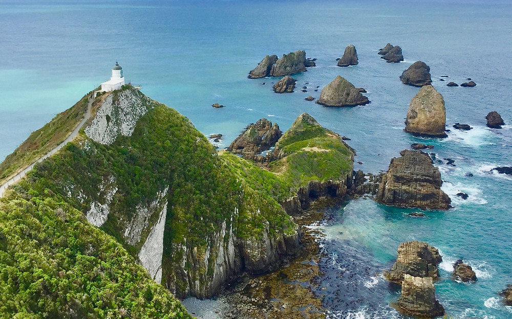 Foliage covered rock islands surrounding New Zealand's Nugget Point Lighthouse.