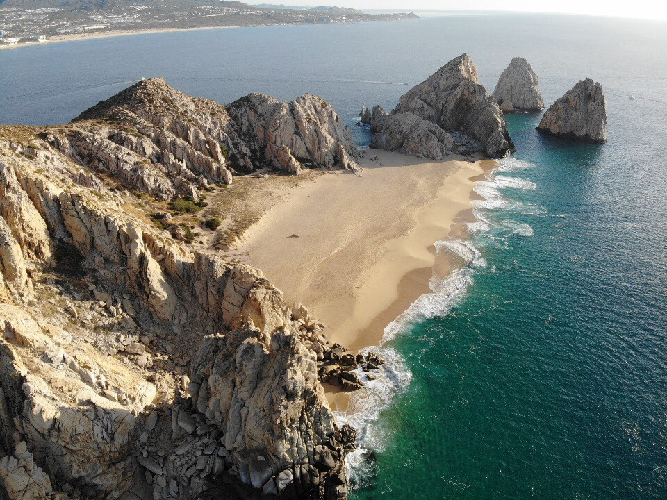 The Arches and Sea of Cortez in Cabo San Lucas, Mexico from a drone