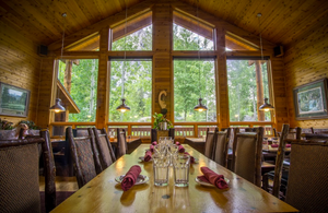 The soaring ceiling and timber interior of the Eagle's Landing Restaurant at the Double Eagle Resort and Spa.