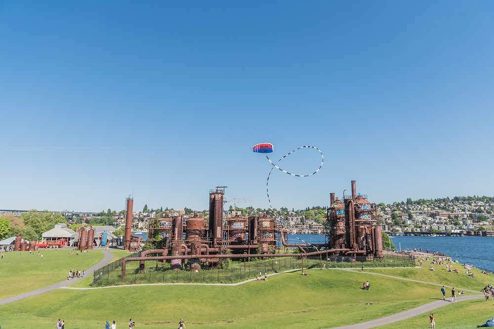 A kite flying above Gas Works Park in Seattle, Washington.