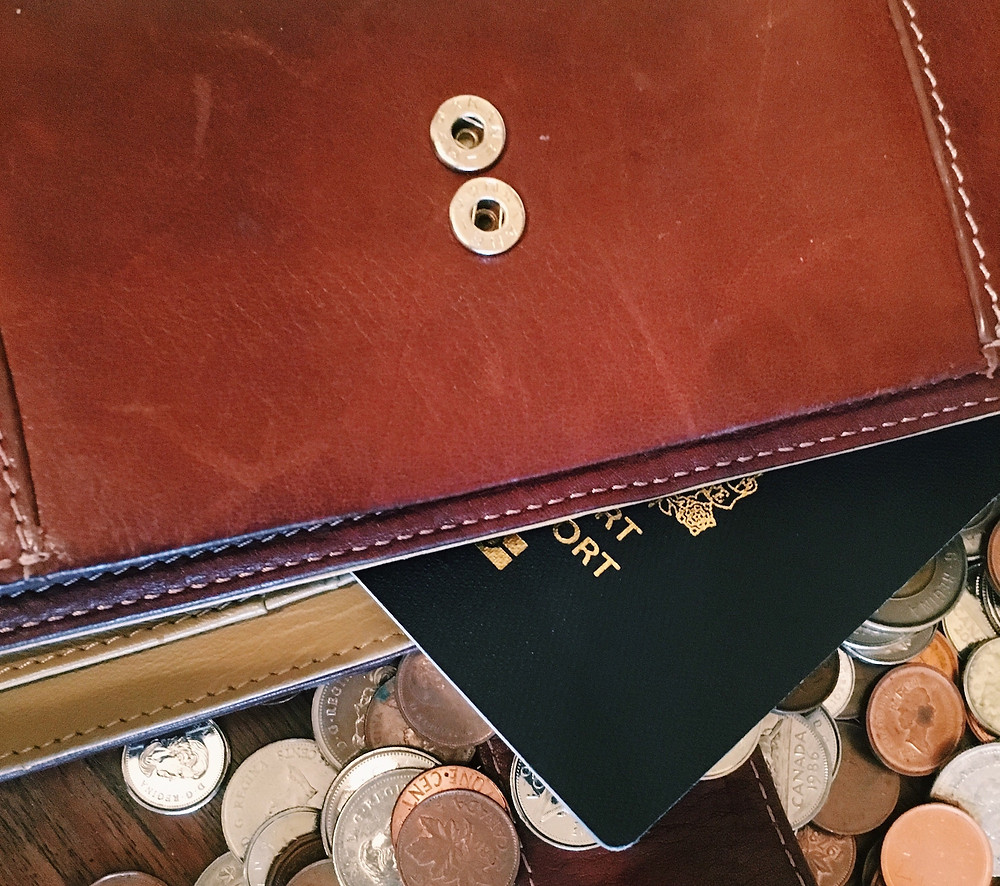 Leather folder with passport and money for a trip