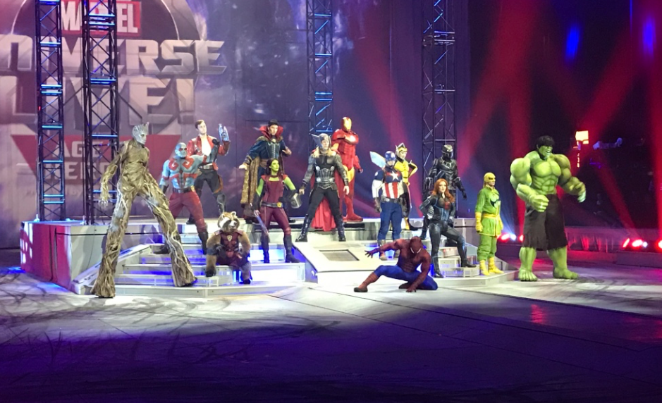 Marvel Universe Live characters posing on stage