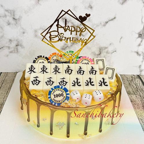 大四喜麻雀拉錢蛋糕(8吋
