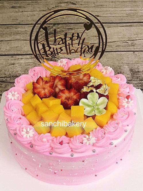 鮮果粉紅漸變色拉錢蛋糕 (8吋)