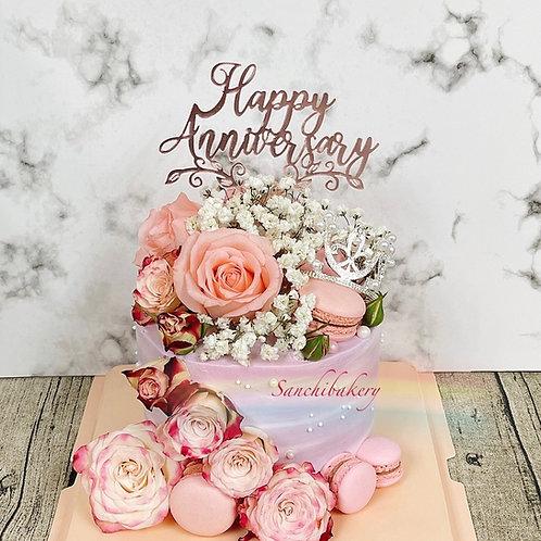 結婚週年鮮花蛋糕(5吋)