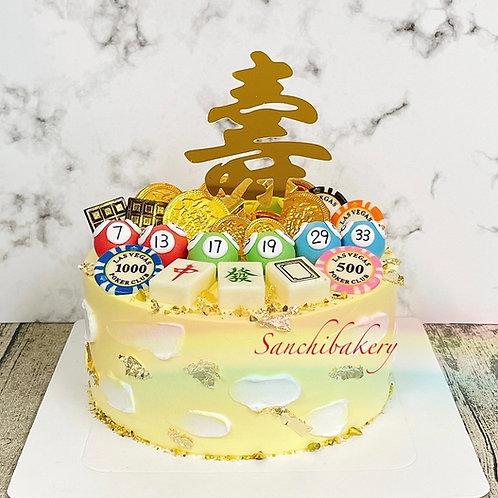 幸運球麻雀拉錢蛋糕(7吋)