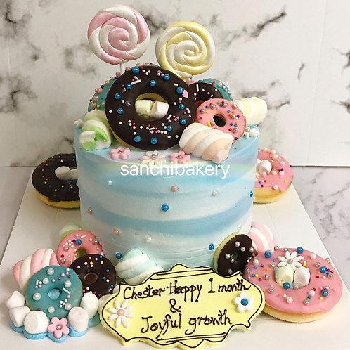 甜甜圈滿月蛋糕 (6吋)