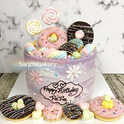 淺紫漸變色甜甜圈蛋糕 (6吋)