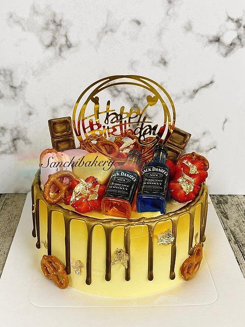 酒瓶拉錢蛋糕(7吋非飲用裝飾版)