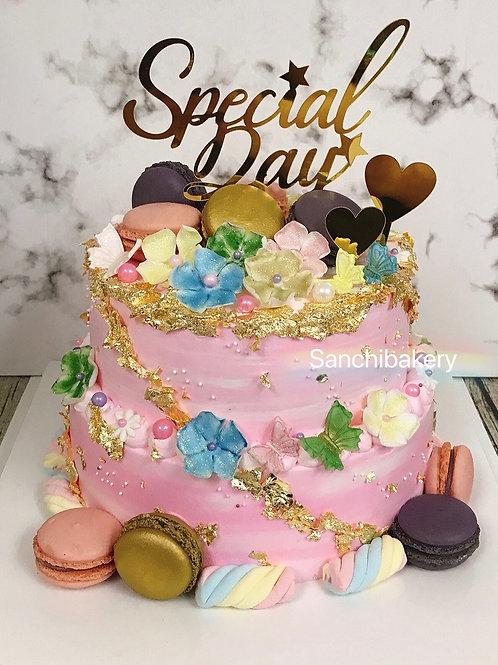 馬卡龍糖花金箔雙層蛋糕