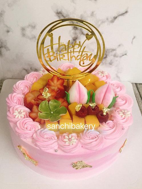 粉紅漸變色小壽桃拉錢蛋糕(8吋)