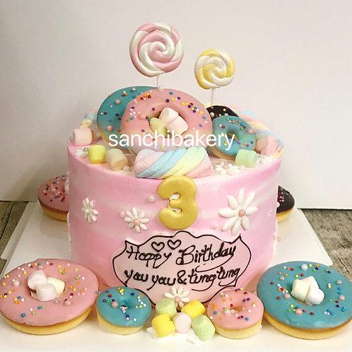 甜甜圈滿月蛋糕 B款 (6吋)