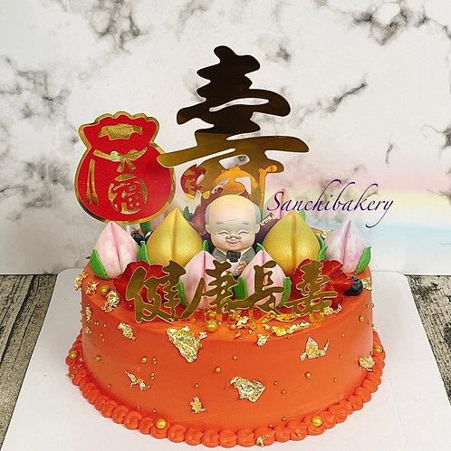 壽公公金壽桃拉錢蛋糕(8吋)