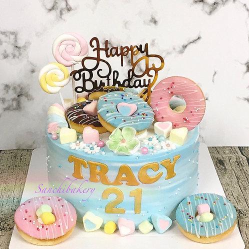 甜甜圈拉錢蛋糕 (7吋)
