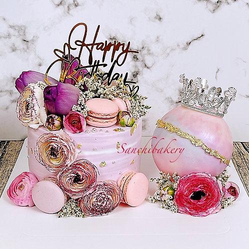 女王皇冠鮮花扑扑蛋糕