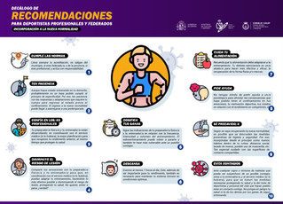 Recomendaciones para deportistas profesionales y federados y para población general