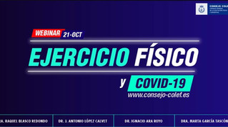 21 octubre: Webinar sobre 'Ejercicio físico y COVID-19' con la participación de Marta García Tascón