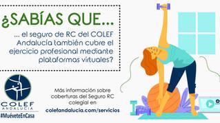 El seguro de RC del COLEF Andalucía cubre también el ejercicio profesional mediante plataformas virt