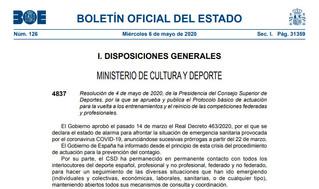 Oficial: Protocolo básico para vuelta a entrenamientos y reinicio de competiciones federadas y profe