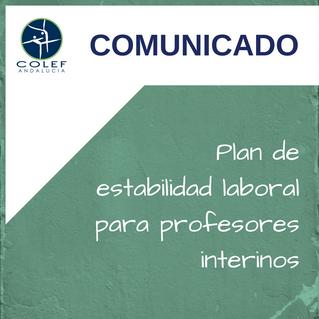 El COLEF Andalucía se une a la demanda de un plan de estabilidad laboral para los profesores interin