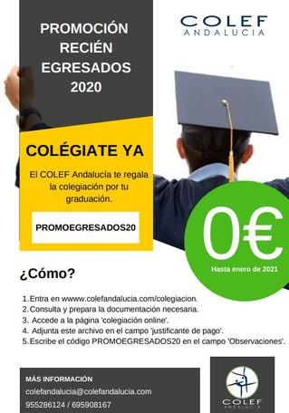COLEF Andalucía regala la colegiación a los recién egresados 2020