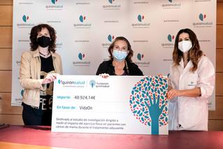 VidaON recibe beca de Fundación Quirónsalud para investigar sobre ejercicio físico y cáncer de mama