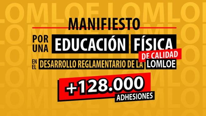 Más de 128.000 apoyos al Manifiesto por una EF de Calidad en el desarrollo de la LOMLOE