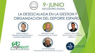 """9 de junio: Foro digital COLEF Andalucía - Agesport """"La desescalada en la gestión y organizació"""