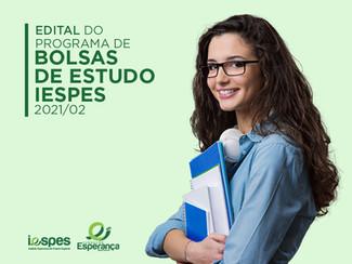 Iespes divulga edital do programa de Bolsas de Estudo 2021/02