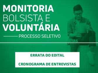 Comissão de seleção de Monitoria divulga errata do edital e cronograma de entrevistas