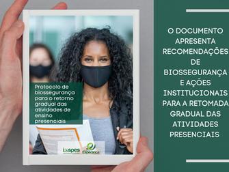 Iespes divulga protocolo de biossegurança para retorno das atividades de ensino presenciais