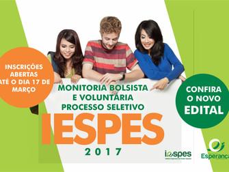 Iespes abre novas vagas para Bolsas Monitoria 2017