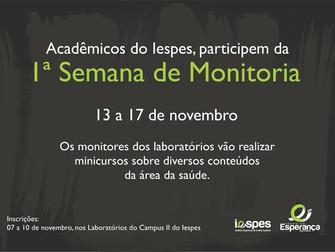 Iespes promove 1ª Semana de Monitoria