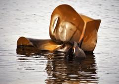 Oeuvre de bronze sous le soleil. Les grandes marées révèlent les laminaires. Plouguerneau (29)