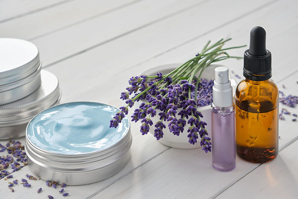 Natural lavender cream, bunch of lavende