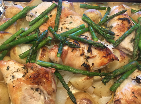 Sheet Pan Roasted Chicken with Asparagus and New Potatoes