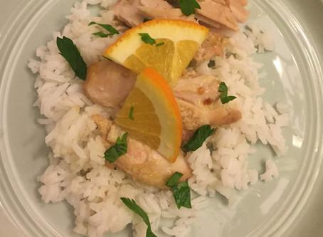 Tasty Orange Chicken Thighs & Rice