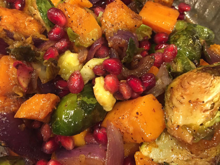Roasted Brussels Sprouts and Butternut Squash with Molasses and Poms
