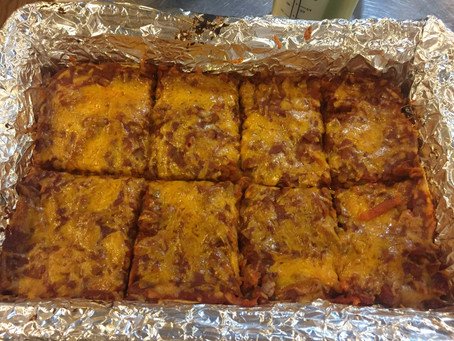 Enchilada Casserole with Sweet Potato and Lentils