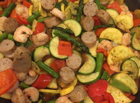 Veggie Shrimp and Sausage Cajun Skillet