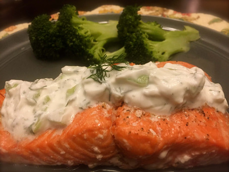 Oven Baked Salmon with Cucumber Dill Sauce