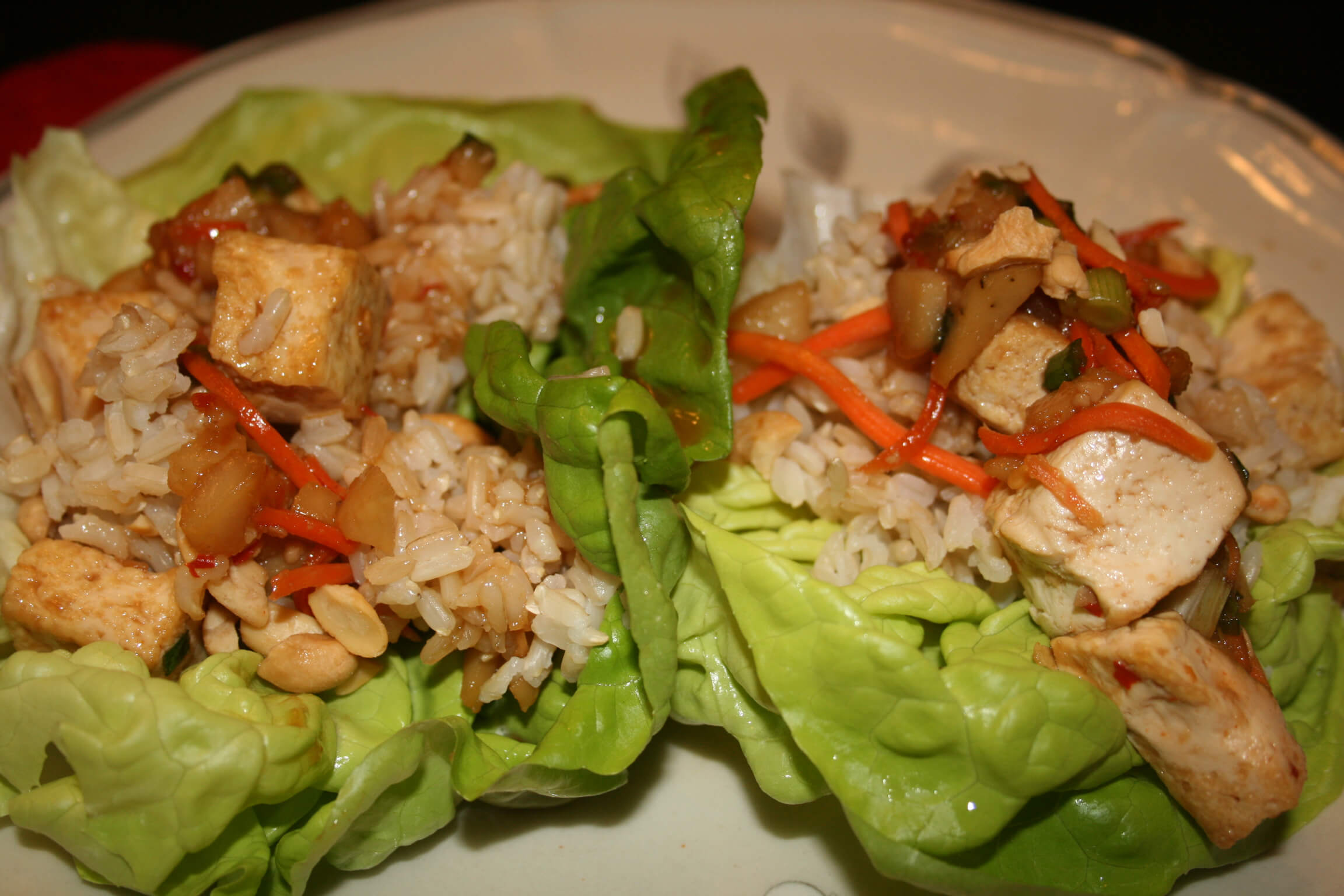 Tofu and Cashew Lettuce Cups