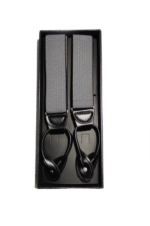 Black - Grey Herringbone Suspenders