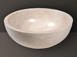 ivory polished marble oval basin